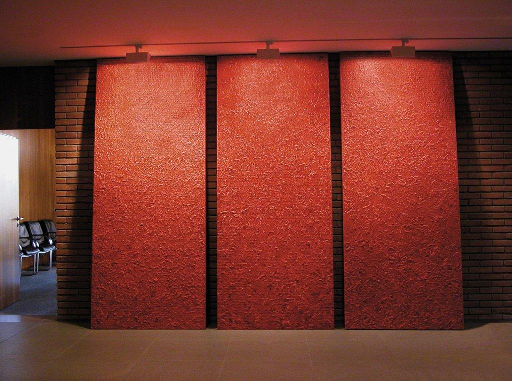 7 Tafeln, 115 x 280 cm, Acryl-, Ölfarbe mit Filzstift auf Spanplatte · 7 boards, 5 x 280 cm, arylic-, oilcolour with felt pen on chipboard
